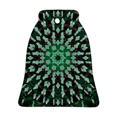 Abstract Green Patterned Wallpaper Background Bell Ornament (Two Sides)