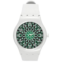 Abstract Green Patterned Wallpaper Background Round Plastic Sport Watch (M)