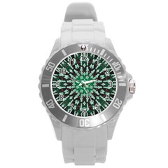 Abstract Green Patterned Wallpaper Background Round Plastic Sport Watch (l)