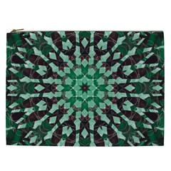 Abstract Green Patterned Wallpaper Background Cosmetic Bag (XXL)