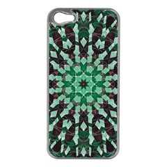 Abstract Green Patterned Wallpaper Background Apple iPhone 5 Case (Silver)