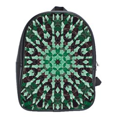Abstract Green Patterned Wallpaper Background School Bags (XL)