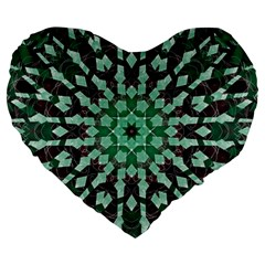 Abstract Green Patterned Wallpaper Background Large 19  Premium Heart Shape Cushions