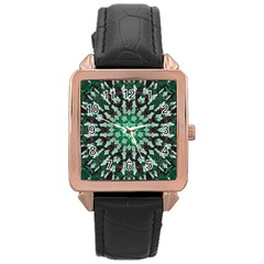 Abstract Green Patterned Wallpaper Background Rose Gold Leather Watch