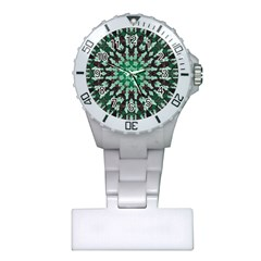 Abstract Green Patterned Wallpaper Background Plastic Nurses Watch