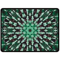 Abstract Green Patterned Wallpaper Background Double Sided Fleece Blanket (Large)