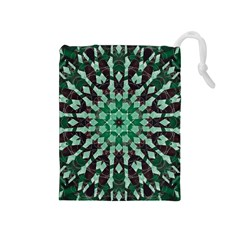 Abstract Green Patterned Wallpaper Background Drawstring Pouches (Medium)