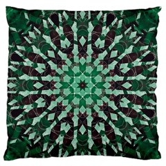 Abstract Green Patterned Wallpaper Background Large Flano Cushion Case (one Side)
