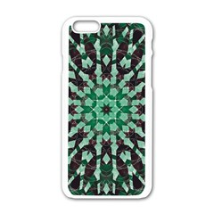 Abstract Green Patterned Wallpaper Background Apple Iphone 6/6s White Enamel Case