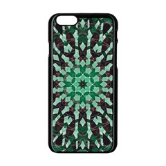 Abstract Green Patterned Wallpaper Background Apple Iphone 6/6s Black Enamel Case