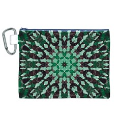 Abstract Green Patterned Wallpaper Background Canvas Cosmetic Bag (XL)