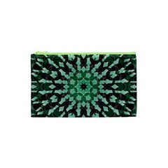 Abstract Green Patterned Wallpaper Background Cosmetic Bag (xs)