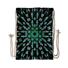 Abstract Green Patterned Wallpaper Background Drawstring Bag (small)