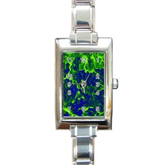 Abstract Green And Blue Background Rectangle Italian Charm Watch