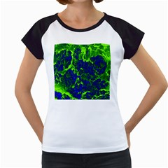Abstract Green And Blue Background Women s Cap Sleeve T
