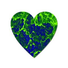Abstract Green And Blue Background Heart Magnet