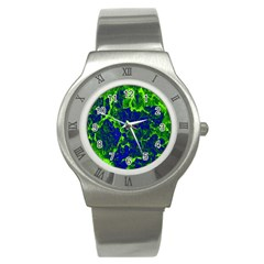 Abstract Green And Blue Background Stainless Steel Watch