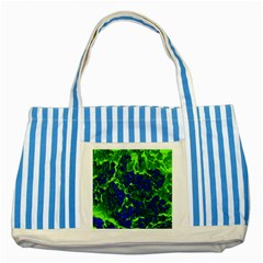 Abstract Green And Blue Background Striped Blue Tote Bag