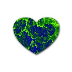 Abstract Green And Blue Background Rubber Coaster (heart)