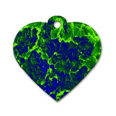 Abstract Green And Blue Background Dog Tag Heart (Two Sides)