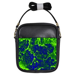 Abstract Green And Blue Background Girls Sling Bags