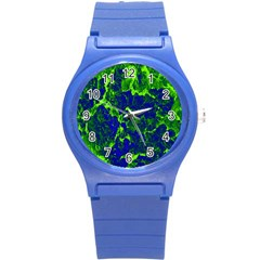 Abstract Green And Blue Background Round Plastic Sport Watch (s)
