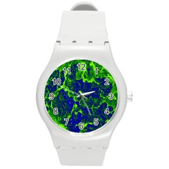 Abstract Green And Blue Background Round Plastic Sport Watch (M)