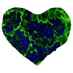 Abstract Green And Blue Background Large 19  Premium Heart Shape Cushions