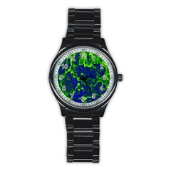 Abstract Green And Blue Background Stainless Steel Round Watch