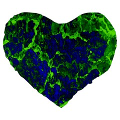 Abstract Green And Blue Background Large 19  Premium Flano Heart Shape Cushions