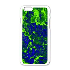 Abstract Green And Blue Background Apple Iphone 6/6s White Enamel Case