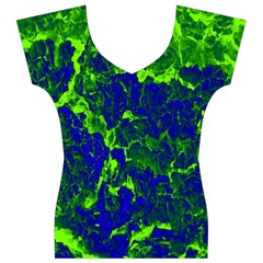 Abstract Green And Blue Background Women s V-Neck Cap Sleeve Top