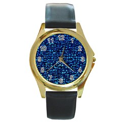 Blue Box Background Pattern Round Gold Metal Watch