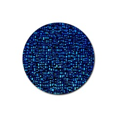 Blue Box Background Pattern Rubber Round Coaster (4 Pack)