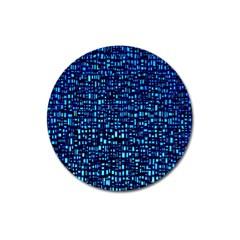 Blue Box Background Pattern Magnet 3  (round)