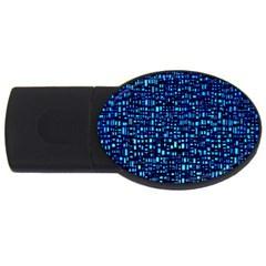 Blue Box Background Pattern Usb Flash Drive Oval (2 Gb)