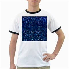 Blue Box Background Pattern Ringer T Shirts