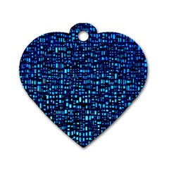 Blue Box Background Pattern Dog Tag Heart (One Side)
