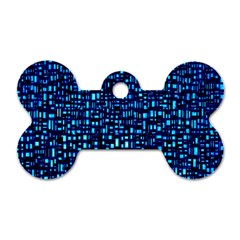 Blue Box Background Pattern Dog Tag Bone (One Side)