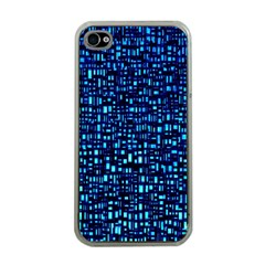 Blue Box Background Pattern Apple iPhone 4 Case (Clear)