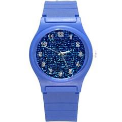 Blue Box Background Pattern Round Plastic Sport Watch (s)