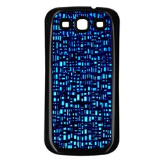 Blue Box Background Pattern Samsung Galaxy S3 Back Case (black)