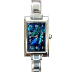 Underwater Abstract Seamless Pattern Of Blues And Elongated Shapes Rectangle Italian Charm Watch