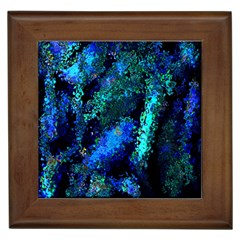 Underwater Abstract Seamless Pattern Of Blues And Elongated Shapes Framed Tiles