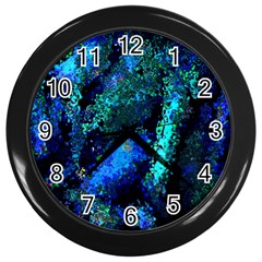 Underwater Abstract Seamless Pattern Of Blues And Elongated Shapes Wall Clocks (Black)