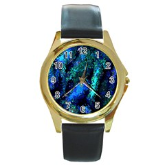 Underwater Abstract Seamless Pattern Of Blues And Elongated Shapes Round Gold Metal Watch
