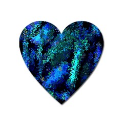 Underwater Abstract Seamless Pattern Of Blues And Elongated Shapes Heart Magnet