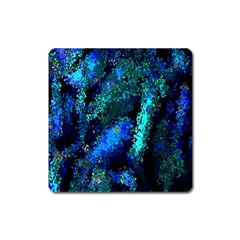 Underwater Abstract Seamless Pattern Of Blues And Elongated Shapes Square Magnet