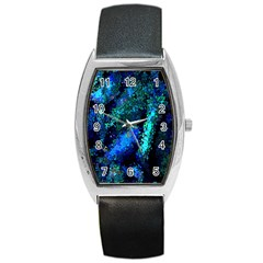 Underwater Abstract Seamless Pattern Of Blues And Elongated Shapes Barrel Style Metal Watch