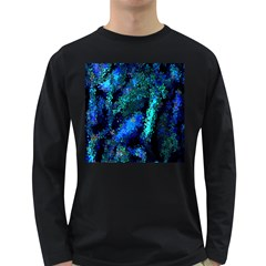 Underwater Abstract Seamless Pattern Of Blues And Elongated Shapes Long Sleeve Dark T-Shirts